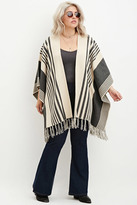 Forever 21 FOREVER 21+ Plus Size Mixed Stripe Fringed Poncho