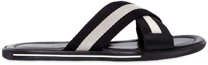 Bally Rubber Sandals W/ Web Crisscross Straps
