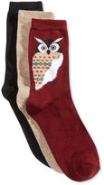 Charter Club Women's 3-Pk. Whimsy Owl Socks, Only at Macy's