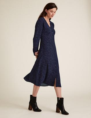 Marks and Spencer Printed Puff Sleeve Midi Tea Dress