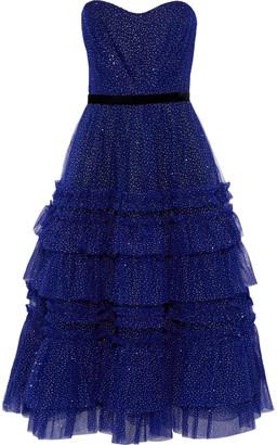 Marchesa Notte Strapless Tiered Glittered Tulle Midi Dress