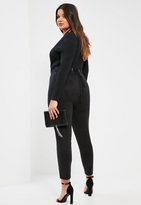 Missguided Plus Size Exclusive Black Faux Suede Lace Up Waist Trousers