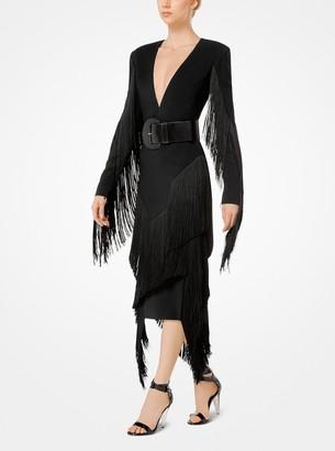 Michael Kors Fringed Stretch-Cady Plunge Dress