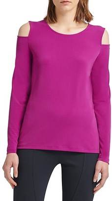 Donna Karan Long-Sleeve Cold-Shoulder Top