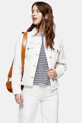 Topshop Womens White Denim Raw Hem Oversized Jacket - White