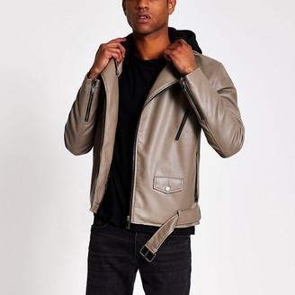River Island Brown faux leather hooded biker jacket