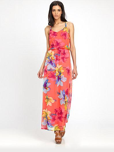 Ella Moss Hibiscus Silk Chiffon Maxi Dress