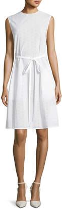 Calvin Klein Crewneck Sleeveless Embroidered Cotton Dress