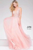 Jovani Sheer Neckline and Embroidered Bodice Chiffon Prom Dress JVN47560