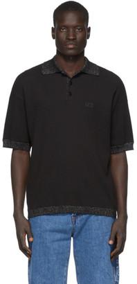 GCDS Black Waffle Knit Polo