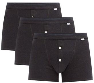 Schiesser Pack Of Three Karl-heinz Cotton Boxer Briefs - Grey
