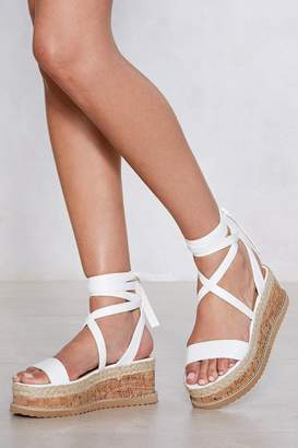 Nasty Gal Womens Enough With The Cork Platform Sandal - White - 3