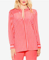 Vince Camuto Striped Band-Collar Tunic Shirt