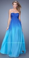 La Femme Crisscross Ombre A-Line Prom Gown
