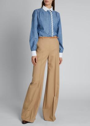 Chloé Contrast-Trim Chambray Shirt