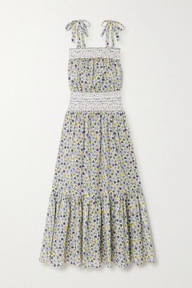 Tory Burch Smocked Floral-print Cotton-voile Maxi Dress