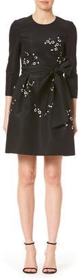 Carolina Herrera Floral Embellished 3/4-Sleeve Dress with Bow