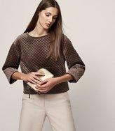 Reiss Nia - Quilted Velvet Sweatshirt in Brown, Womens