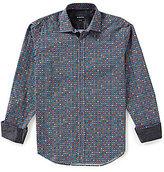 Bugatchi Long-Sleeve Repeating Circle Print Woven Shirt