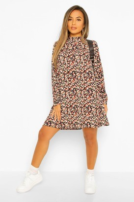boohoo Petite High Neck Floral Long Sleeve Smock Dress
