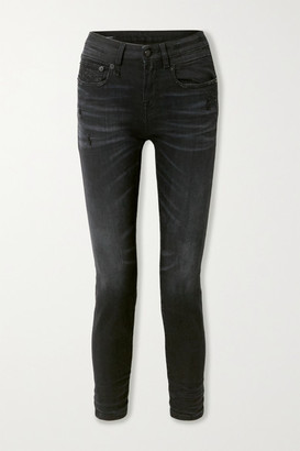 R 13 Distressed Mid-rise Skinny Jeans - Black
