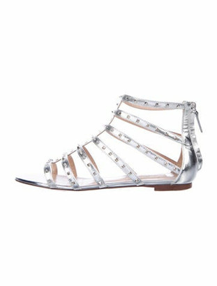 Valentino Rockstud Accents Patent Leather Gladiator Sandals Silver