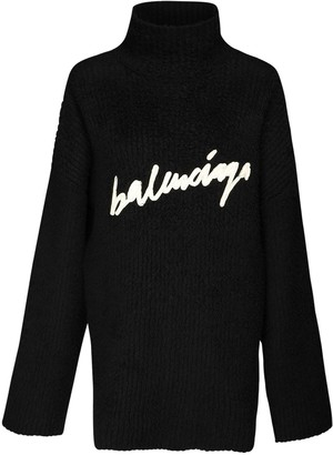 Balenciaga Logo Embroidery Knit Turtleneck Sweater
