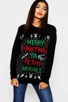 Boohoo Erin Ya Filthy Muggle Christmas Jumper black