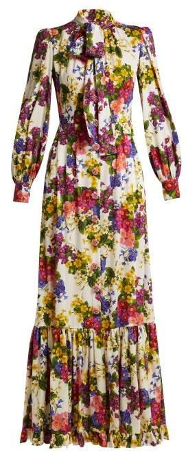 Dolce & Gabbana Primrose Print Silk Blend Charmeuse Gown - Womens - White Multi