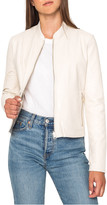 LAMARQUE Reversible Zip-Front Lamb Leather Metallic Bomber Jacket