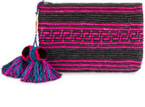 Yosuzi woven canvas pouch with pompom tassels - women - Straw - One Size