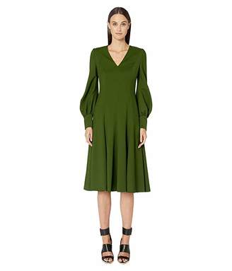 Escada Long Sleeve V-Neck Twill Dress