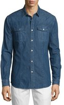 John Varvatos Long-Sleeve Denim Shirt, Blue
