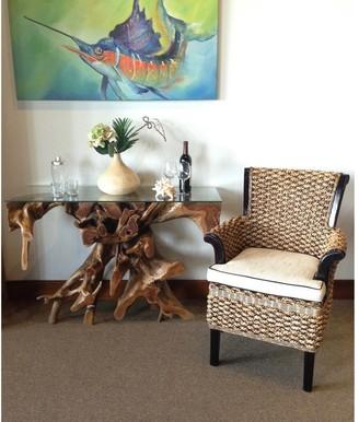 Chic Teak Handwoven Water Hyacinth Soldano Arm Chair