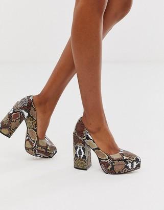 Asos Design DESIGN Prime chunky platform high heeled court shoes in brown snake