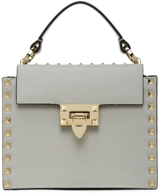 Valentino Grey Garavani Small Rockstud Top Handle Bag