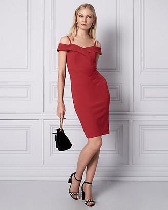 Le Château Knit Crepe Cold Shoulder Cocktail Dress