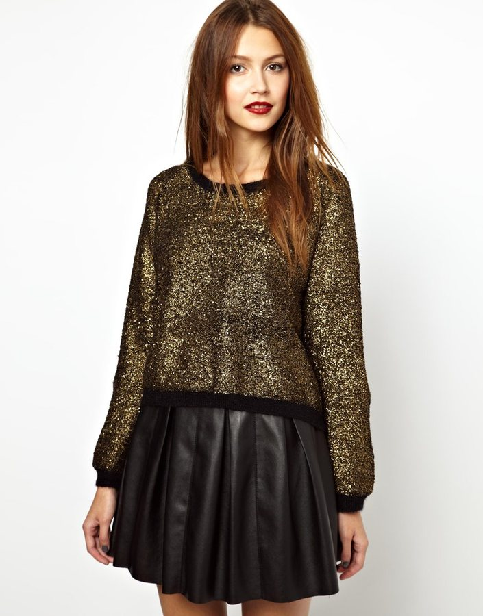 Vanessa Bruno Metallic Foiled Knitted Sweater