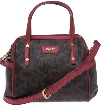 DKNY Brown/Red Monogram Coated Canvas and Leather Boston Bag