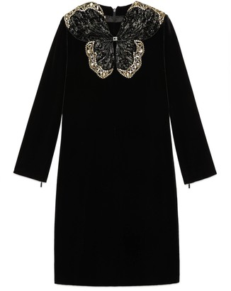 Gucci Short velvet dress with sequin butterfly