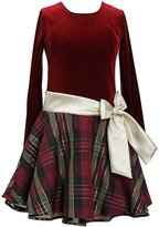 Bonnie Jean Burgundy Drop-Waist Plaid-Skirted Dress