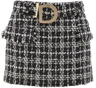 Balmain Logo-buckle Cotton-blend Tweed Mini Skirt - Womens - Black