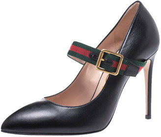 Gucci Black Leather Sylvie Mary Jane Pumps Size 38.5