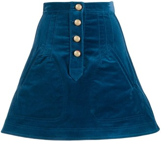 Derek Lam 10 Crosby Stretch Velveteen A-Line Mini Skirt with Snaps
