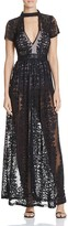Olivaceous Sheer Lace Maxi Dress
