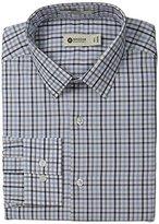 Haggar Men's North Sea Check Point Collar Regular Fit Long Sleeve Dress Shirt