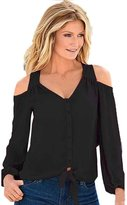 LUNIWEI Women Office Ladies Solid Chiffon V-Neck Strapless Long Sleeve Tops