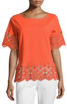 Joan Vass Short-Sleeve Slub Tee w/ Lace, Plus Size