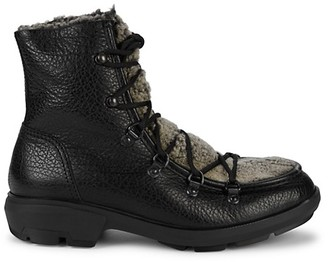 Aquatalia Marcus Shearling Pebbled-Leather Outdoor Boots