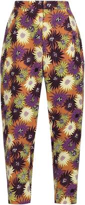Marni Cropped Floral-print Silk-crepe Tapered Pants